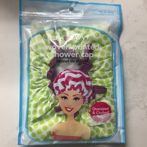 NWT/Green and white polka dotted shower cap